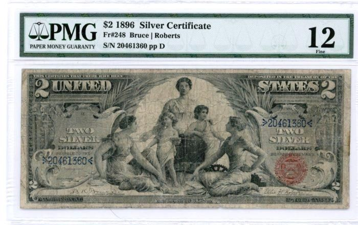 "Just Arrived 1896 $2 SILVER CERTIFICATE PMG FINE 12 ""EDUCATIONAL NOTE"" https://www.paper-money-collector.com/product/1896-2-silver-certificate-pmg-fine-12-educational-note/ #Currency"