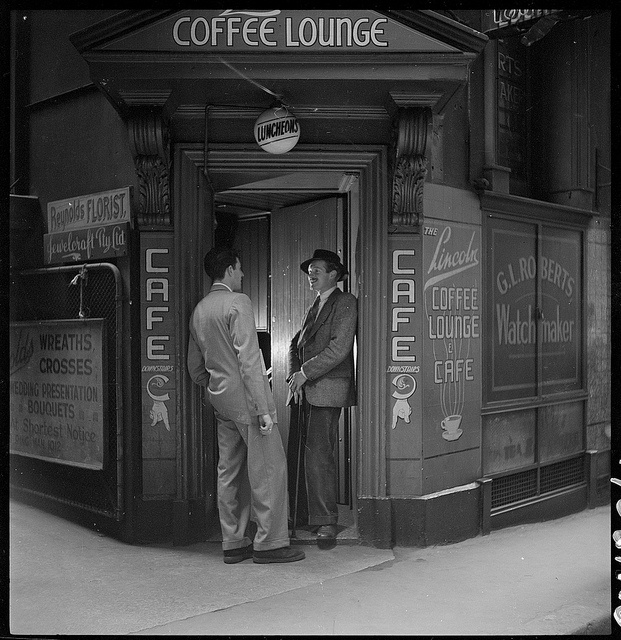 "The Lincoln Coffee Lounge is said to be the birth place of the ""Sydney Push"" movement in its early days, just after the war. A popular meeting place for artists & writers. Photographed by Brian Bird c. 1948-1951.      Find more detailed information about this photographic collection: http://acms.sl.nsw.gov.au/item/itemDetailPaged.aspx?itemID=111528      From the collection of the State Library of New South Wales www.sl.nsw.gov.au"