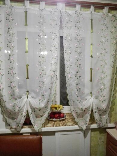 tienda online top finel tratamiento de la ventana persianas cortina romana voile bordado tulle sheer panel