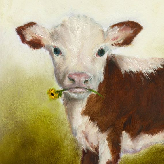 Cow Nursery Art Print Farm Animal Kids Wall by NickiNickiGallery