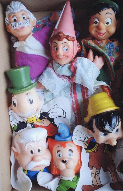 Poppenkastpoppen - Pinokkio figuren 📌 Pinocchio puppets with Geppetto