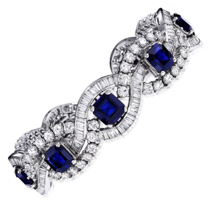 Natural Sapphire Diamond Platinum Bracelet | From a unique collection of vintage retro bracelets at https://www.1stdibs.com/jewelry/bracelets/retro-bracelets/