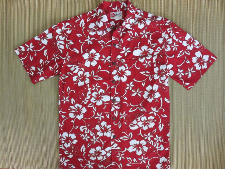 Red Hawaiian Shirt HILO HATTIE Hibiscus Flower Power Mod 100% Cotton Vintage Beach Party Surfer Aloha Shirt Mens - S- Oahu Lew's Shirt Shack by OahuLewsShirtShack on Etsy