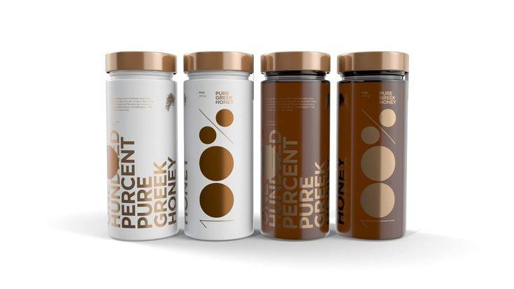 'One Hundred Percent' honey by Freelance Creative - The Greek Foundation #branding #packaging #design