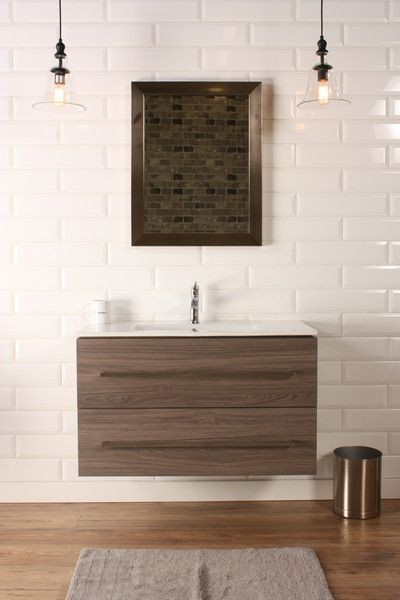 "Naos 36"" Grey Oak, Modern Wall Mount Bathroom Vanity, Featheredge - The Vanity Store Canada - 36"" - 1"