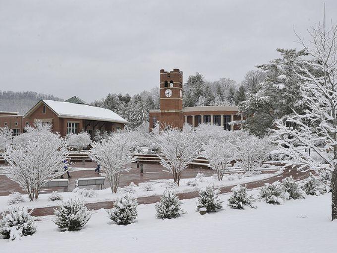 Western Carolina University students enjoyed a snowy