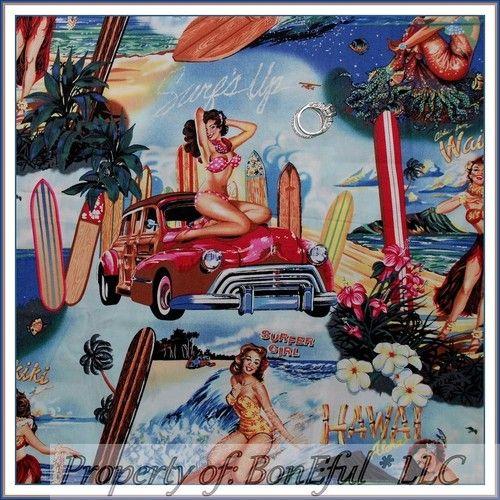 BonEful Fabric FQ Cotton Kaufman VTG Pin Up Girl Hawaii Beach Surf Boy Woody Car