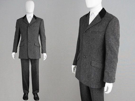 Vintage GIANNI VERSACE Suit 80s Mens Suit Grey Tweed Suit Made
