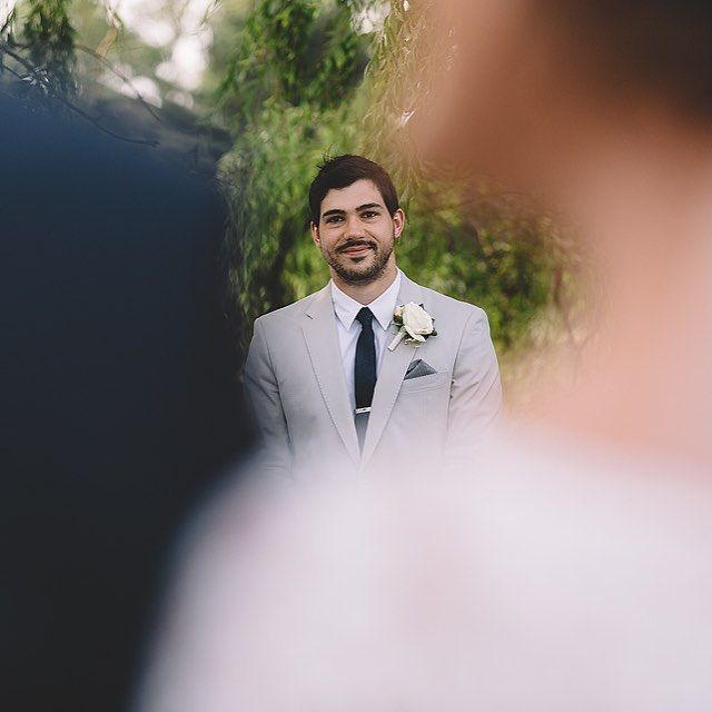 Groom first look of bride. Stillwater at Crittenden wedding on Mornington Peninsula by Vanessa Norris Photography.