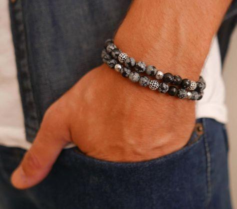 Bracelet homme ensemble Bracelet perlé - lot de 2 Bracelets pour homme - homme - pierres précieuses Bracelet - Bijoux - Bracelet cadeau - bijoux pour homme - homme pour homme - hommes en cadeau pour les hommes - accessoires hommes hommes - Guy cadeaux - cadeau de petit ami Bracelets -