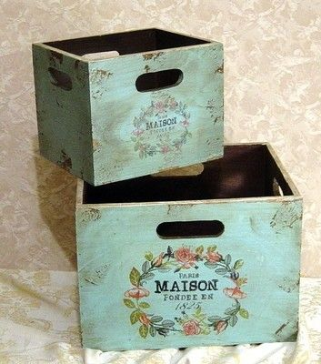 Shabby chic style hand painted turquoise wooden boxes