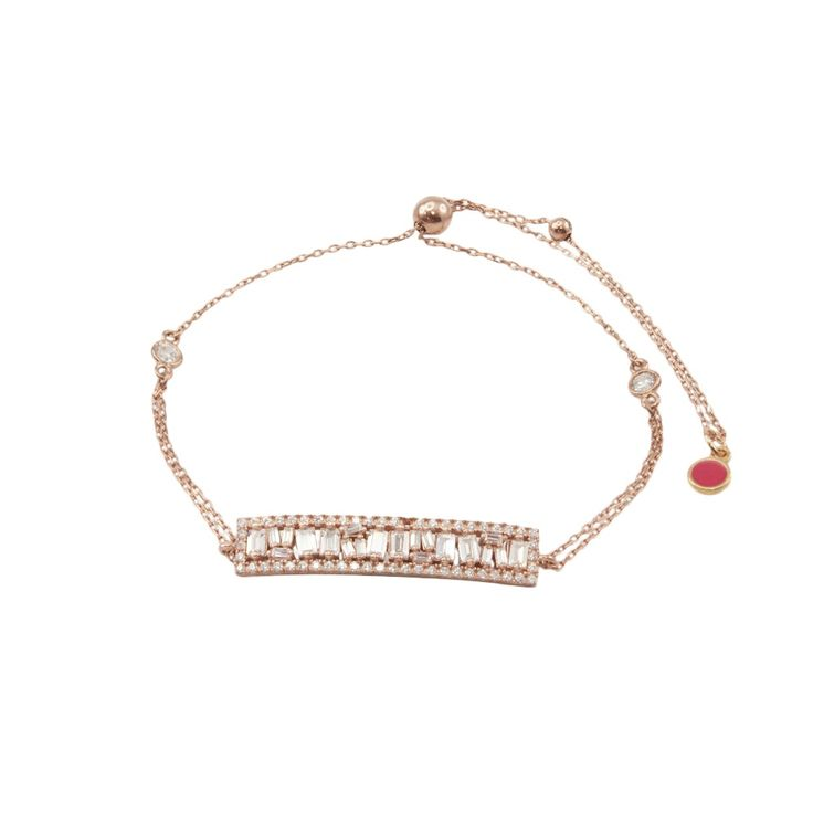 Rose gold plated silver 925 bracelet with white cz and small crystal stones. Limited edition.