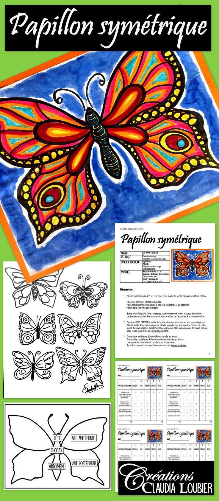 Apprenez à vos élèves à dessiner de magnifiques papillons, tout en travaillant plusieurs notions d'arts dont la symétrie, les lignes et les motifs. Pour 2e année et plus. Les premières année réussiront à le faire aussi, avec plus de supervision. Vous aurez besoin de feutres de couleurs, de crayon de bois noir ou de feutre permanent et de gouache en pain. Démarche complète pour réaliser le projet, la grille d'évaluation et les photos explicatives.