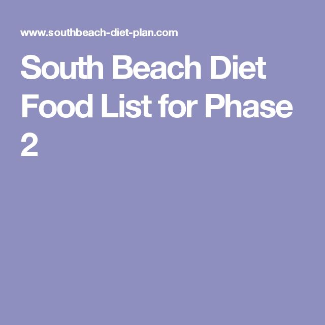 South Beach Diet Food List for Phase 2