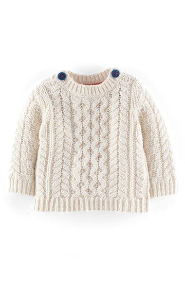 Mini Boden 'Fisherman' Cable Knit Sweater (Baby Boys) available at #Nordstrom