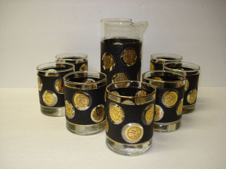 Libbey Black and Gold Coin Glassware Set with Pitcher & Seven Cocktails Glasses #Libbey