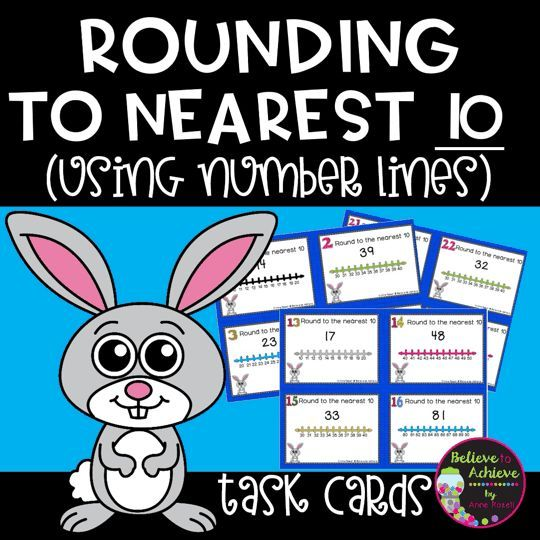 Rounding to nearest 10 (using Number lines) Task Cards *** This set is also available in aPlace Value GROWING BUNDLE!Here's the link:Place Value GROWING BUNDLEThis is a colorful set of 24 task cards to practice rounding to nearest 10 using number lines. This set is a wonderful addition to your lessons!I've included a recording sheet and answer key, too!