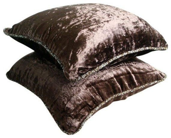 Dark Brown Velvet Throw Pillow Cover