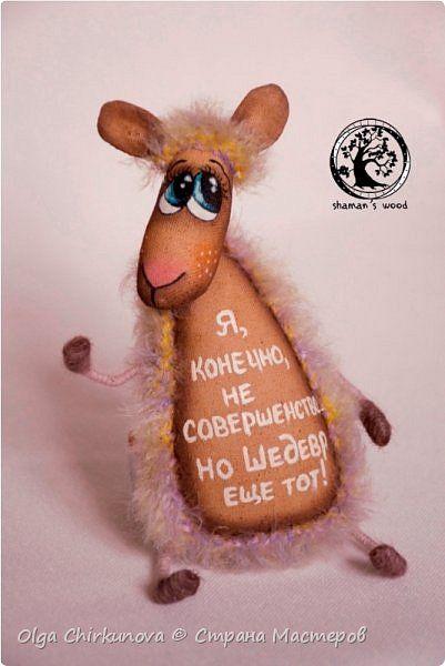 Поделка изделие Новый год Шитьё Кофейная овечка Ткань фото 1