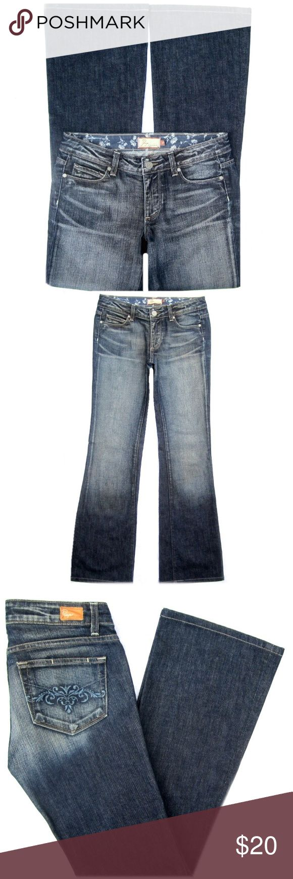 "Paige Premium Denim Hollywood Hills Jeans Paige Premium Denim 'Hollywood Hills' stretch jeans. Medium blue, distressed wash. Cotton/Elastane. Size 27. They have a 7"" rise and 31"" inseam. They have been hemmed. Amazing fit! Paige Jeans Jeans"