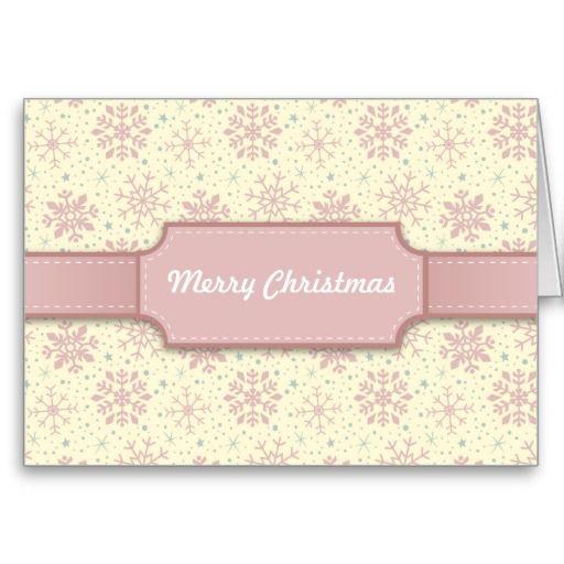 Pink Christmas Snowflake Pattern & Pink Ribbon Christmas Greeting Card. Designed by Kristy Kate www.kristykate.com. #whitechristmas #pinkchristmas #shabbychic