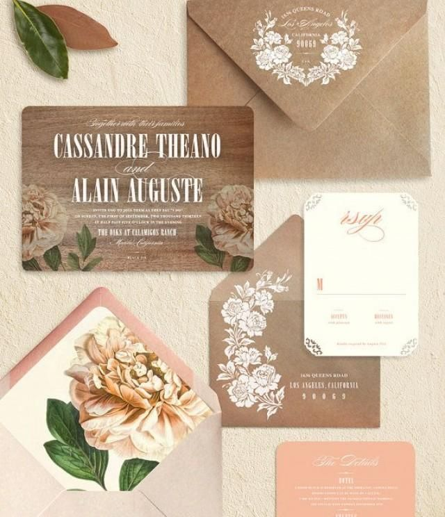 Peach Peony Rustic Modern Wood Wedding Invitations
