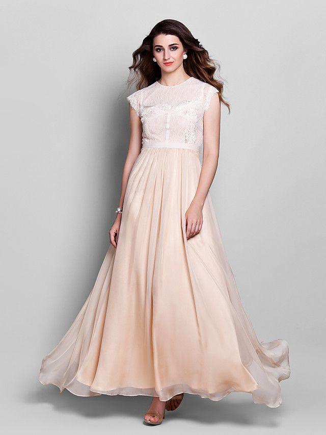 Formal Evening / Prom / Military Ball Dress - Champagne Plus Sizes / Petite Sheath/Column Jewel Floor-length Chiffon / Lace - USD $99.99