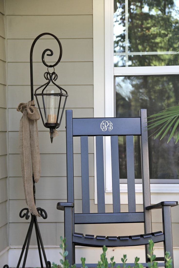 monogrammed rocking chair + lantern love    Southern Soul Mates: Fall Decor