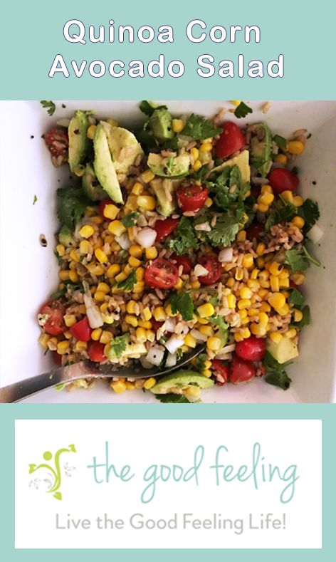Quinoa Corn Avocado Salad. Healthy, health food, nutrition, vegetarian, vegan, meatless, recipe, recipes, healthy lifestyle, plants, plant based, unprocessed, organic, natural, energy, detox, destress, greens, family, nutrition, recipe, recipes, breakfast, lunch, dinner, dessert, well-being, wholesome, plant based, unprocessed, whole food, grains.