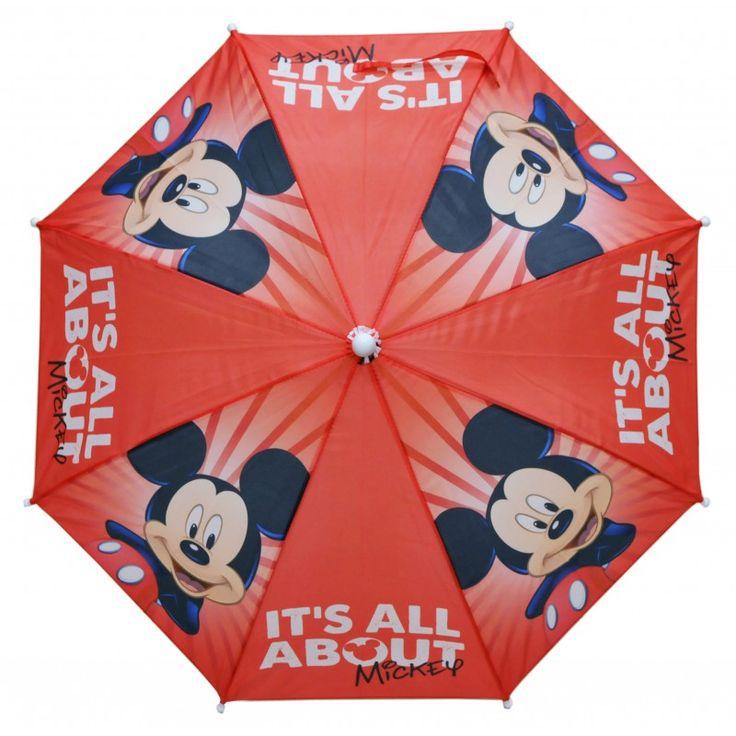 Parapluie Mickey sur fond rouge
