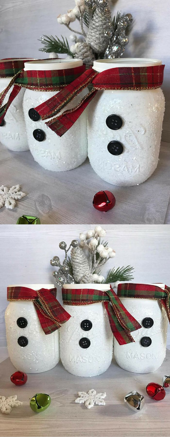 This adorable set of snowmen Mason jars makes a perfectly playful winter centerpiece. Add them to that special room for a festive look. Spice them up with florals or decorative branches. They also look great on their own. Snowman Decor, Snowman Mason Jars, Holiday Home Decor, Frosty Decor, Christmas Home Decor, Christmas Mason Jars, Rustic Christmas Decor #ad #affiliate #DIYHomeDecorMasonJars