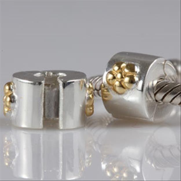 Golden Flower Clip Stopper Bead Fl Fits Pandora Beads Clips Fit