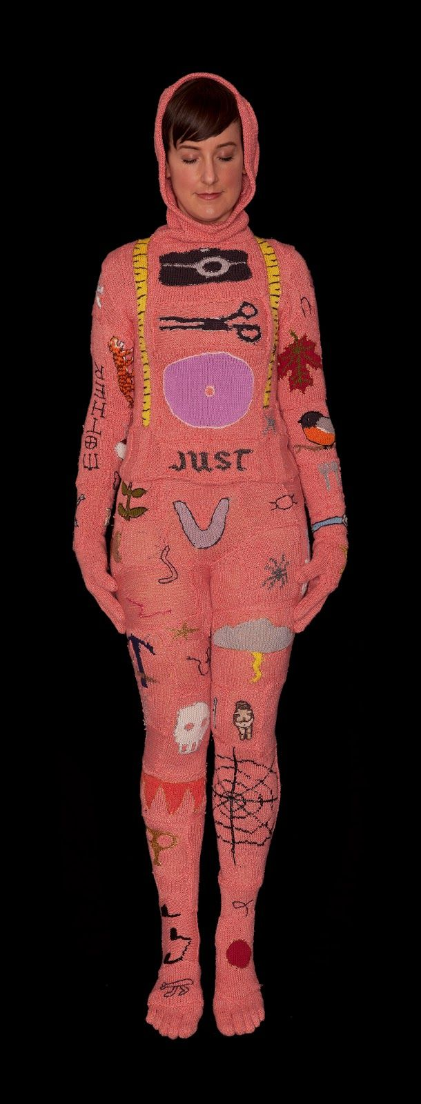Knitted burial suit by Kate Just