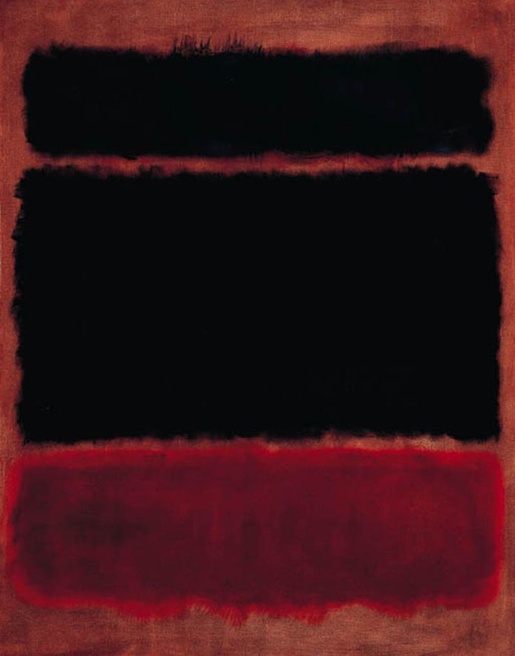 """Mark Rothko - Black in Deep Red (1957) """"The fact that lots of people break down and cry when confronted with my pictures shows that I communicate with those basic human emotions. The people who weep before my pictures are having the same religious experience I had when I painted them."""""""