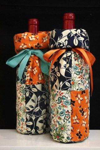 Wine Gift Bags tutorial from Fabric Traditions