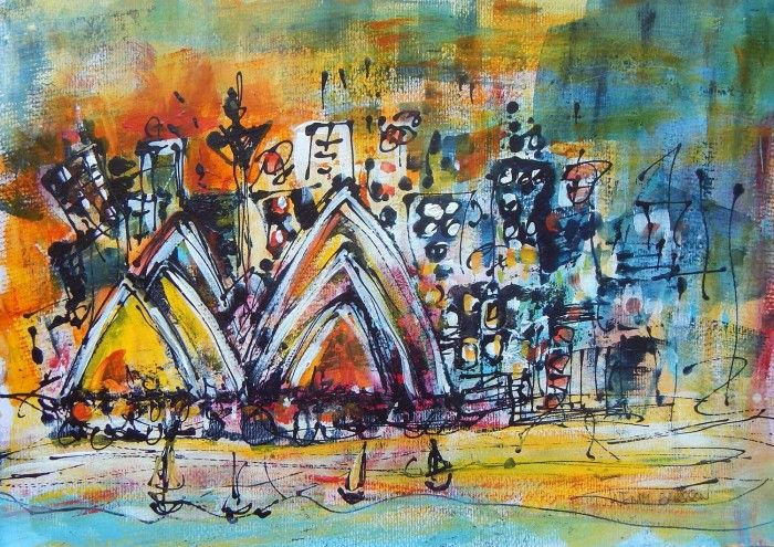 Harbour City Opera Acrylic on Paper 29.7cm x 42.0cm This is a contemporary artwork of Sydney Harbour with Sydney Opera House as the main feature with small yachts sailing by. It is a colourful piece which captures the vibrancy of Sydney and the Harbour. This is an energetic painting which has been created using transfer techniques. The artwork is created using a number of layers, with various transparent washes and opaque colours to produce windows to the images below.