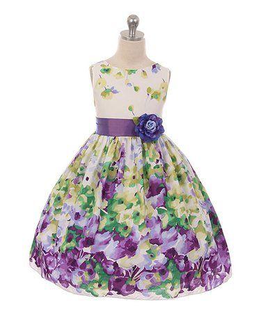 Look at this #zulilyfind! Green & Purple Floral Dress - Toddler & Girls #zulilyfinds