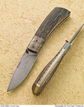 Kevin Casey Custom Knives : Folders : Casey Feather Damascus Folder #011