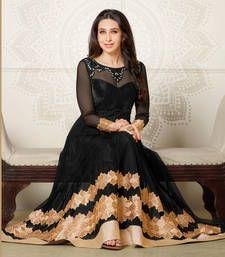 Black salwar suit!!! The salwar suit speaks for itself !! Karishma Kapoor in Black embroidered georgette-net semi-stitched salwar with dupatta