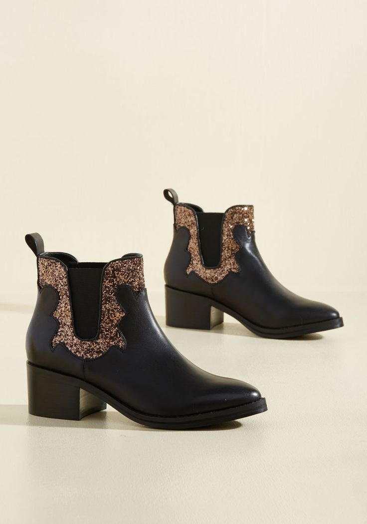 Watch Sparkles Fly Leather Bootie, @ModCloth