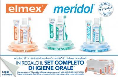 Omaggio con acquisto Elmex Meridol: ricevi in premio sicuro set igiene orale gratuita composto da pochette, spazzolino, colluttorio, dentifricio e filo