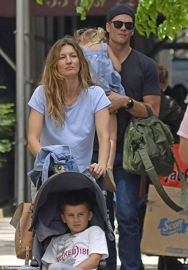 Family first: Gisele Bundchen and Tom Brady enjoyed a more low key afternoon - this time with their two children