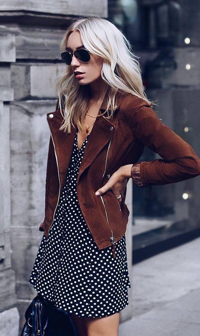 trendy outfit_brown moto jacket + dress + bag