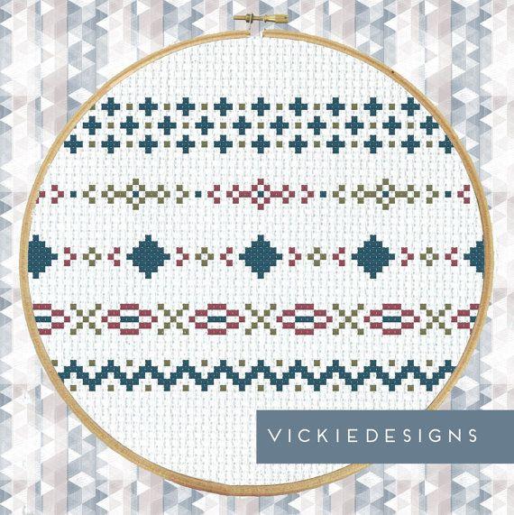 Scandinavian Borders Modern Cross Stitch Pattern PDF