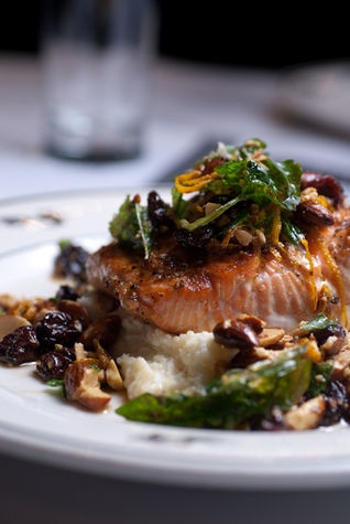 Wild Winter King Salmon, Smoky Almond, Crispy Basil, and Brown Butter: Steelhead Diner, Seattle
