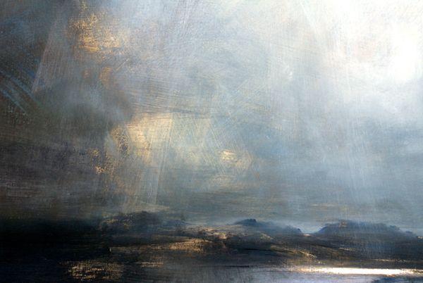 Light Rain, Quidnish, Harris - Oil on Board - Zarina Stewart-Clark