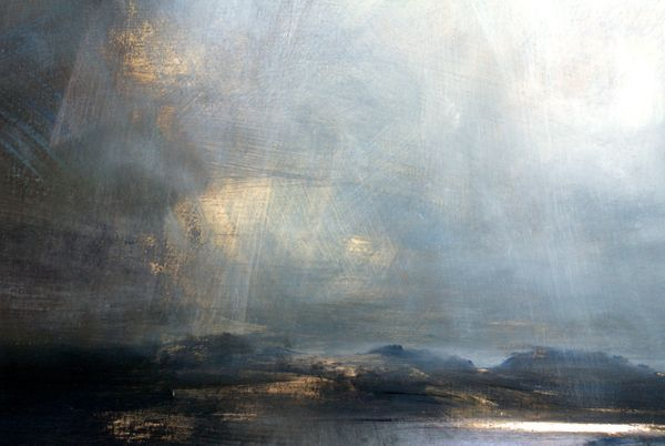 Light Rain, Quidnish, Harris - Oil on Board - Zarina Stewart-Clark, Landscape Artist