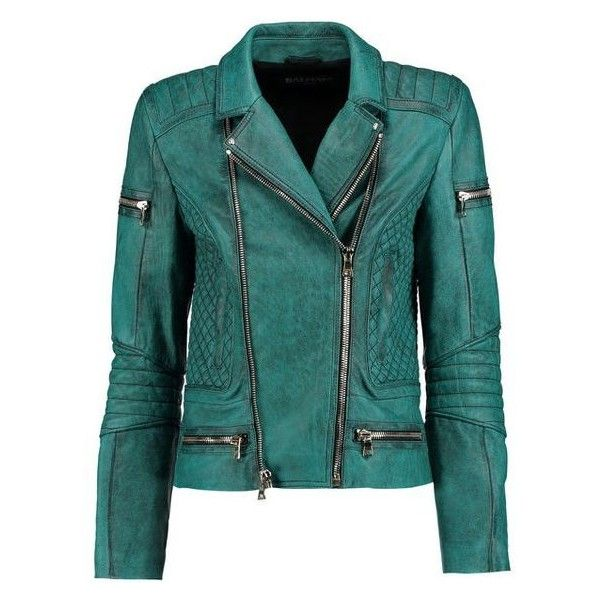 Balmain Washed-leather biker jacket ❤ liked on Polyvore featuring outerwear, jackets, quilted leather jackets, leather biker jacket, green leather jacket, genuine leather jackets and leather motorcycle jacket