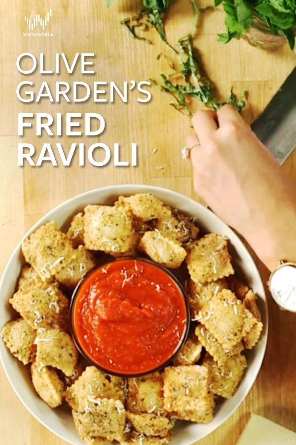 Crispy fried ravioli, dipped in marinara and topped with parmesan is an easy and affordable dish ! Learn how to make it on Get the Dish with Brandi Milloy. You will start by making a flour and oil and egg mixture. Mix together 1/4 cup of buttermilk with 1 egg and 1 egg yolk. Then create a seasoned breadcrumb mix by adding breadcrumbs, dried basil, garlic powder, and salt and pepper.