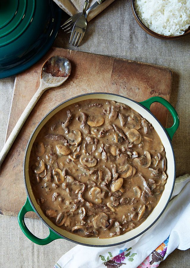 BEFSTROGANOV aka BEEF STROGANOV aka BEEF STROGANOFF ~~~ recipe gateway: i pinned my favorite stroganoff recipe to this post's link AND a simpler version that, if one were to remove the splash of soy sauce, walks more toward a classic construct http://tanyazouev.com/classic-beef-stroganoff/ [Russia] [foodandwin] [tanyazouev]